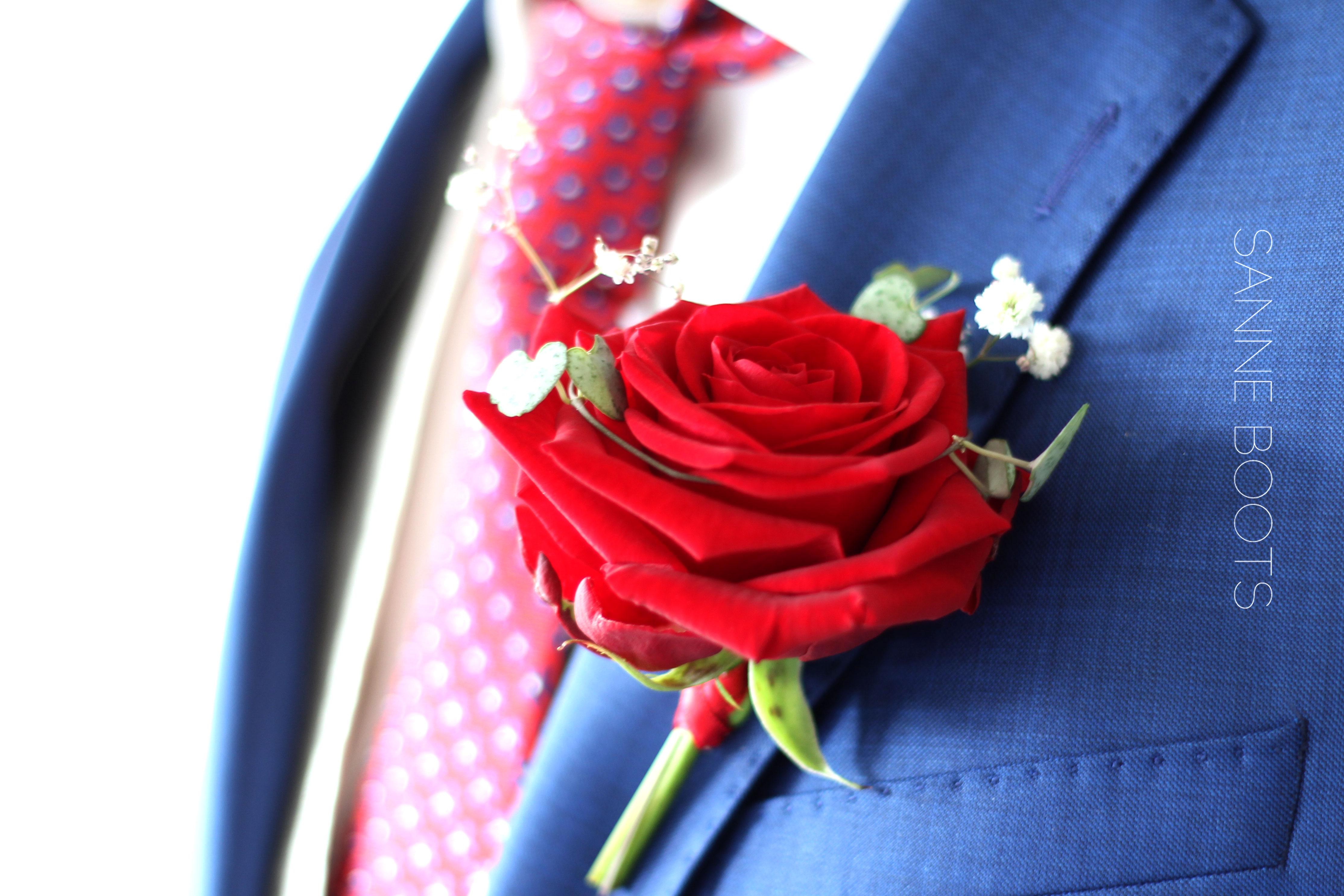 Corsage | Fluweel rode roos met subtiel wat gipskruid en een hangplant