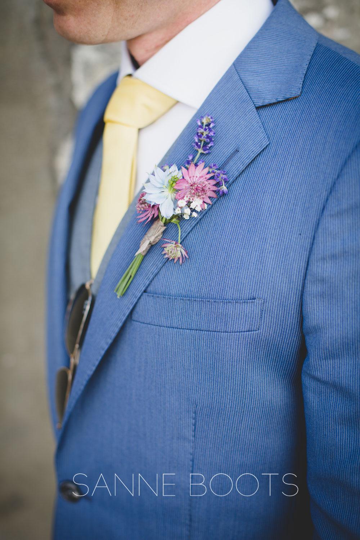 Corsage | Oudroze en blauw