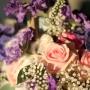 Bruidsboeket   Close-up van Scabiosa, Rozen en schelpen