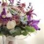 Bruidsboeket  Lavendel, Clematis, Pioenroos, Roos 'Memory Lane', Zeeuws Knoopjes en een parelketting