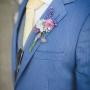 Corsage   Oudroze en blauw